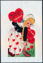 #HH206 - Large Diecut Mechanical Valentine with Dutch Girl - Original Envelope