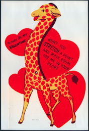 #HH205 - Huge Diecut Mechanical Valentine with Giraffe - Original Envelope