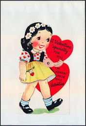 #HH210 - Large Diecut Mechanical Valentine with Girl Carrying a Heart - Original Envelope