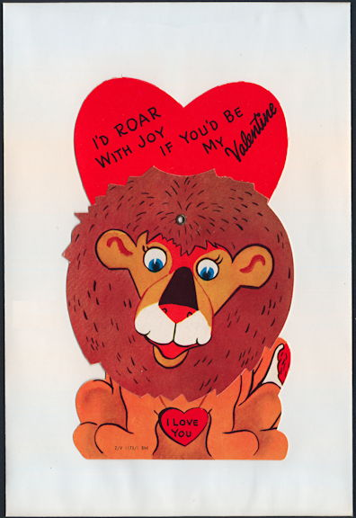 #HH203 - Large Diecut Mechanical Valentine with Lion - Original Envelope