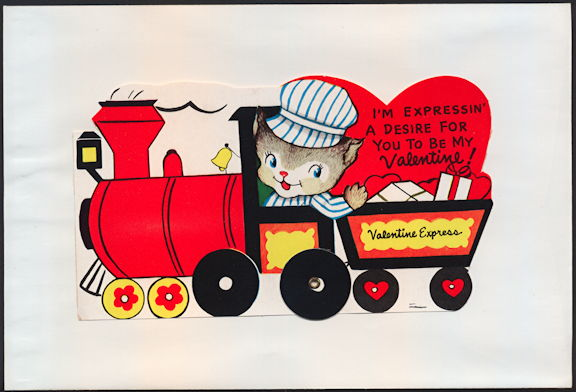 #HH197 - Large Diecut Mechanical Valentine with Cat Driving a Choo Choo Train - Original Envelope