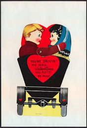 #HH196 - Large Diecut Mechanical Valentine with Young Couple in Buggy - Original Envelope