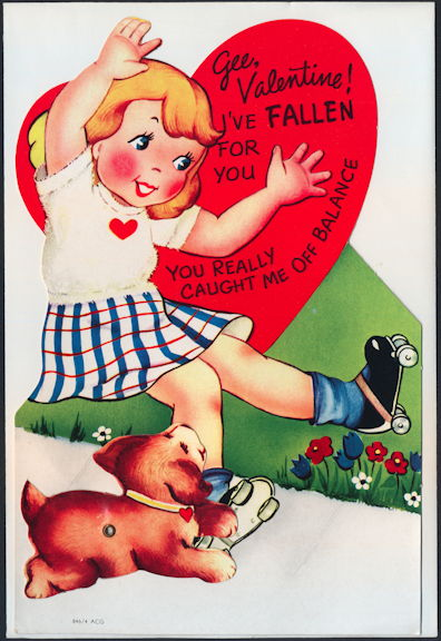 #HH209 - Huge Diecut Mechanical Valentine with Roller Skating Girl and Dog - Original Envelope