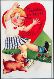 #HH209 - Huge Diecut Mechanical Valentine with Roller Skating Girl and Dog - Original Envelope