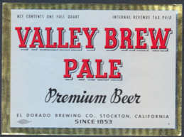 #ZLBE097 - Valley Brew Pale Premium IRTP Beer Bottle Label