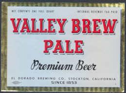 #ZLBE097 - Valley Brew Pale Premium IRTP Beer Bottle Label