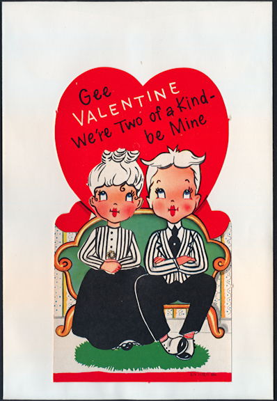 #HH208 - Large Diecut Mechanical Valentine with Old Time Couple - Original Envelope
