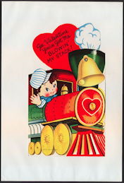 #HH198 - Large Diecut Mechanical Valentine with Boy Driving a Choo Choo Train - Original Envelope
