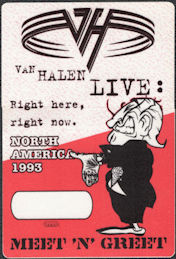 ##MUSICBP0811 - Van Halen OTTO Cloth Meet 'N' Greet Pass from the 1993 Right Here, Right Now Tour