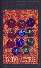 ##MUSICBP0353  - 1995 Van Halen Laminated Backstage Pass from the Balance Summer Tour