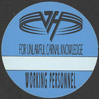 "##MUSICBP0079 - Van Halen Round 1991/92 OTTO backstage pass from the ""For Unlawful Carnal Knowledge"" Tour"