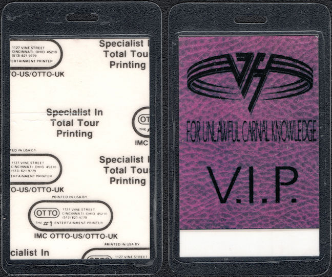 ##MUSICBP0082  - Van Halen Laminated OTTO Backstage pass from the 1991/92 For Unlawful Carnal Knowledge Tour