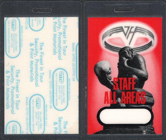 ##MUSICBP0805 - Super Rare Van Halen OTTO Laminated Staff Pass from the OU812 Tour