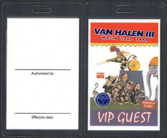 ##MUSICBP0809 - Scarce Van Halen OTTO Laminated VIP Guest Backstage Pass from the 1998 Van Halen III World Tour