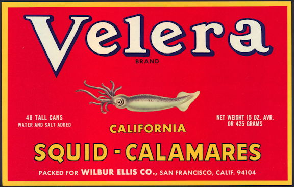 #ZLC408 - Velera California Squid Crate Label