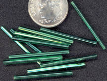 #BEADS0202 - Group of 10 Very Old Shiny Emerald Colored Venetian Tube Bead