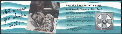 #ZZZ147 - 1947 Ventura Attic Fan Brochure