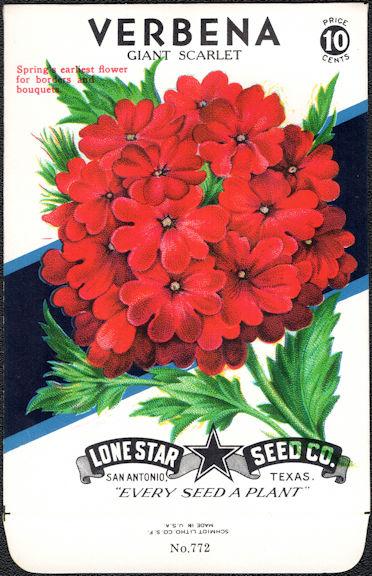 #CE038 - Verbena Giant Scarlet Lone Star 10¢ Seed Pack - As Low As 50¢ each