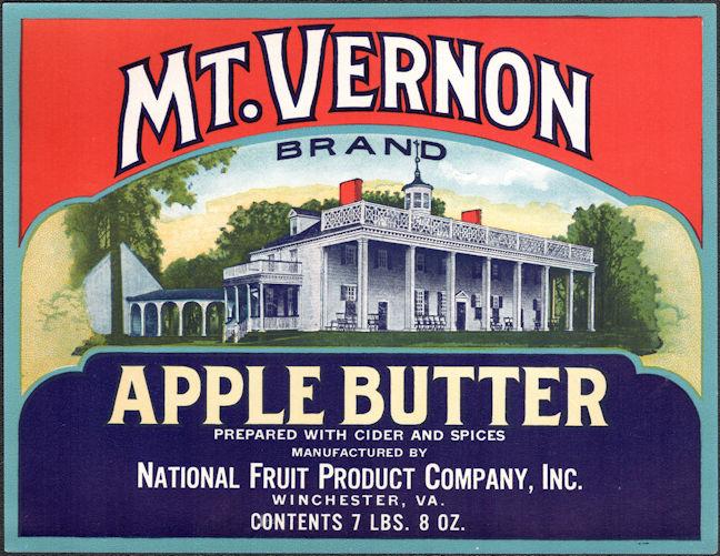 #ZLC479 - Mt. Vernon Apple Butter Jar Crate Label - Winchester, VA