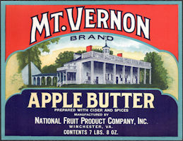 #ZLC479 - Mt. Vernon Apple Butter Jar Crate Label - Winchester, VA
