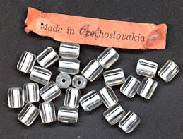 #BEADS0734 - Very Old Group of 25 6mm Clear with White Core Six Sided Czech Glass Beads