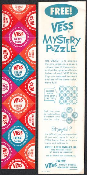 #SOZ038 -  Group of 3 Vess Soda Mystery Bottle Cap Puzzle Giveaways