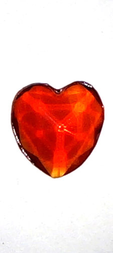 #BEADS0442 - 12mm Heart Shaped Ruby Glass Cabochon - As Low as 10¢ each