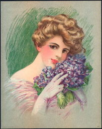 #MS205 - 1910 Victorian Print - Lady with Two Bouquets of Purple Flowers