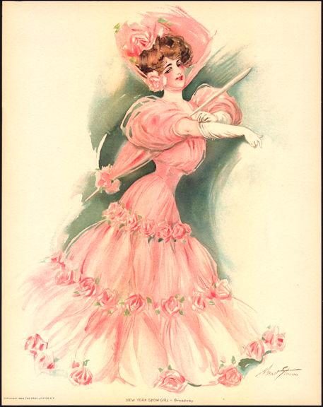 #MS168 - 1907 Victorian Print - New York Show Girl Broadway