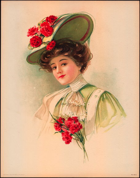 #MS202 - 1908 Victorian Print - Lady in Hat with Large Red Carnations