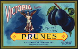 #ZLC396 - Rare Victoria Brand Prunes Crate Label - Mercury