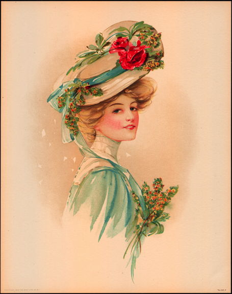 #MS171 - 1908 Victorian Print - Lady in Blue with Red Rose in Hat
