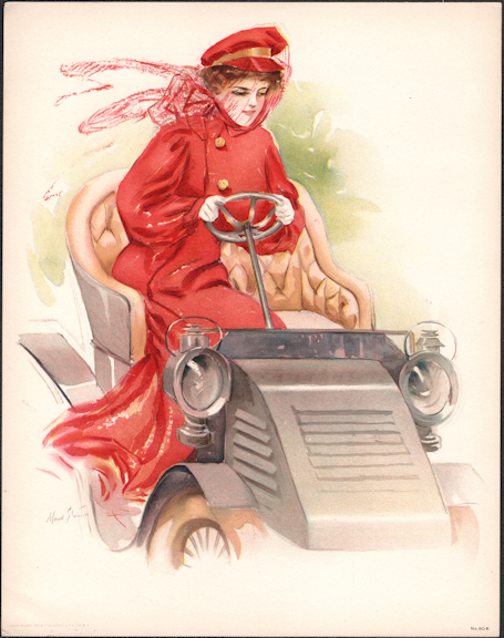 #MS312 - 1908 Victorian Print - Lady in Red Driving an Early Car - Maud Strumm