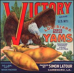 #ZLC406 - Rare Patriotic WWI era Victory Brand U.S. No. 1 Louisiana Porto Rican Yams Crate Label