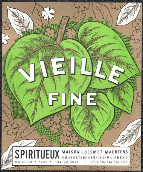 #ZLW168 - Vielle Fine European Liquor Bottle Label