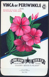 #CE039.1 - Group of 12 Brilliantly Colored Pink Periwinkle (Vinca) Lone Star 10¢ Seed Packs