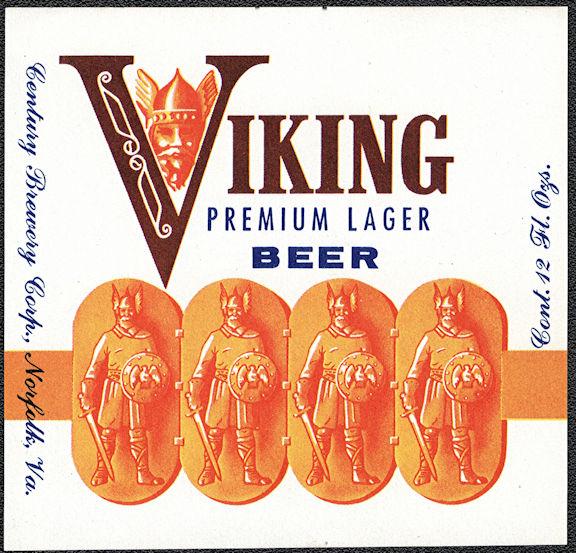 #ZLBE132 - Viking Premium Lager Beer Bottle Label - Norfolk, VA