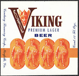 #ZLBE132 - Viking Premium Lager Beer Bottle Label - Norfolk, VA