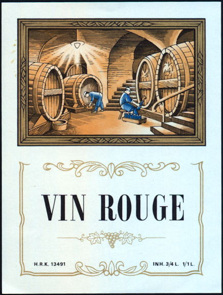 #ZLW160 - Vin Rouge French Red Wine  Liquor Bottle Label