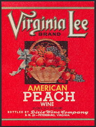 #ZLW154 - Virginia Lee American Peach Wine Bottle Label
