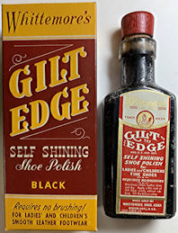 #CS425 - Cork Top Glass Bottle of Whittemore's Gilt Edge Shoe Polish in Original Box