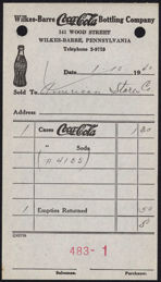 #CC281 - Bottle Logo 1940 Coca Cola Route Receipt from the Wilkes-Barre Coca-Cola Bottling Plant