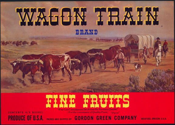 #ZLC439 - Wagon Train Pear Crate Label - Red Version