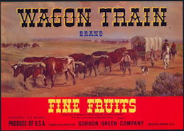 #ZLSH008 - Group of 12 Wagon Train Pear Crate Labels - Red Version