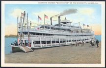 #ZZZ127 - Unused Steamboat Postcard - Excursion Steamer Washington on MIssissippi River - Quincy, IL