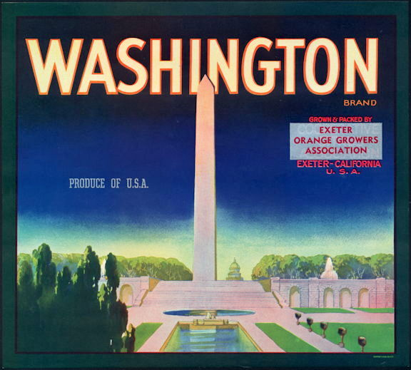 #ZLC443 - Washington Monument Orange Crate Label