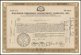 #ZZCE040 - Stock Certificate from the Waltham Precision Instrument Company, Inc.