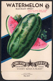 #CE086 - Brightly Colored Kleckley Sweet Watermelon Lone Star 5¢ Seed Pack - As Low As 50¢ each