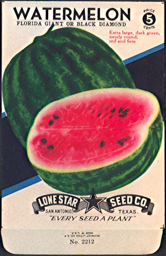 #CE085 - Brilliantly Colored Black Diamond Watermelon Lone Star 5¢ Seed Pack - As Low As 50¢ each