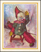 #MS229 - Clown Art Print by Michele - Clown on Stool